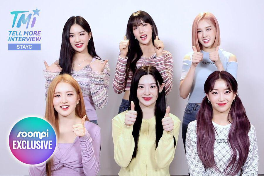 Exclusive Video: STAYC Dishes On Their Fave Dramas, Most Fashionable Member, And More For Soompi's TMI (Tell More Interview)